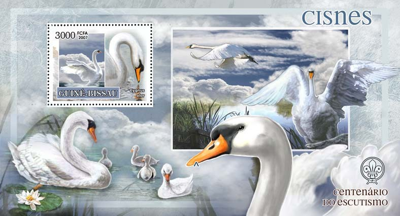 Birds - swans - scouts logo s/s - 3000 FCFA - Issue of Guinée-Bissau postage stamps