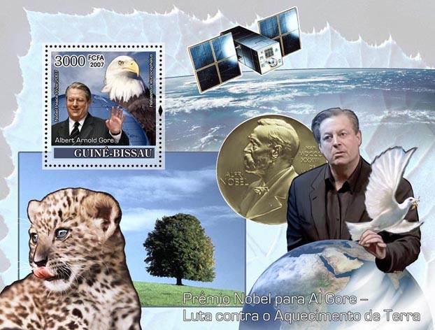 Nobel Prize to A. Gore / Climate Problems S/s 3000 - Issue of Guinée-Bissau postage stamps