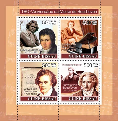 Composer Ludwig Van Beethoven  4v x 500 - Issue of Guinée-Bissau postage stamps