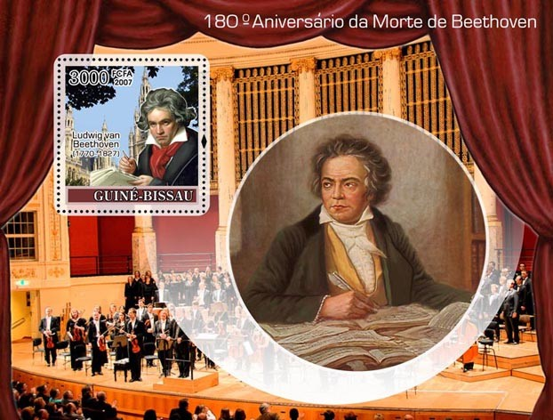 Composer Ludwig Van Beethoven  S/s 3000 - Issue of Guinée-Bissau postage stamps