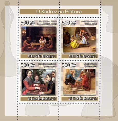 Chess on Paintings 4v x 500 - Issue of Guinée-Bissau postage stamps