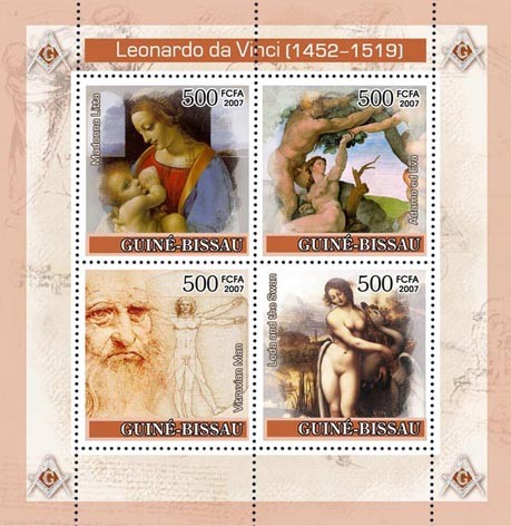 Leonardo Da Vinci / Paintings 4v x 500 - Issue of Guinée-Bissau postage stamps