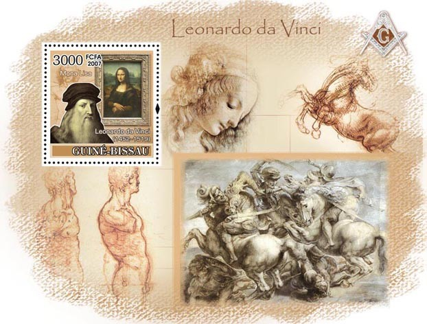 Leonardo Da Vinci / Paintings S/s 3000 - Issue of Guinée-Bissau postage stamps