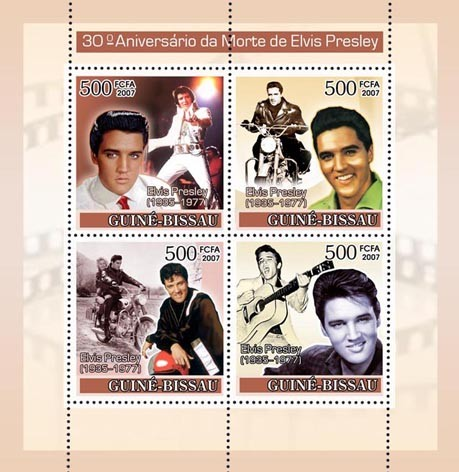 Elvis Presley / Motorcycles 4v x 500 - Issue of Guinée-Bissau postage stamps