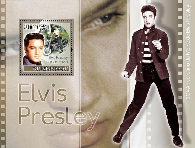 Elvis Presley / Motorcycles S/s 3000 - Issue of Guinée-Bissau postage stamps