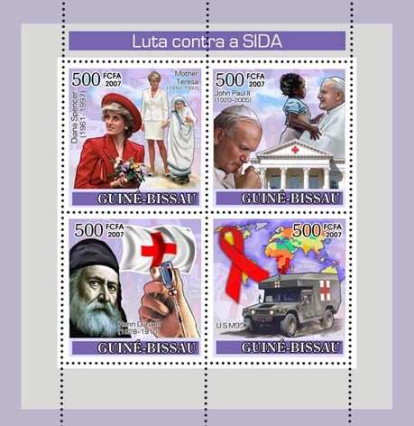 Fight AIDS / Diana / Pope J.P. II / Red Cross / M. Teresa 3x500+450 - Issue of Guinée-Bissau postage stamps