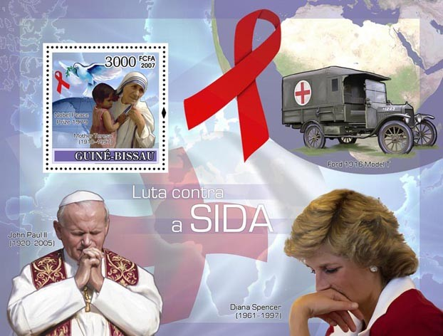 Fight AIDS / Diana / Pope J.P. II / Red Cross / M. Teresa S/s 3000 - Issue of Guinée-Bissau postage stamps