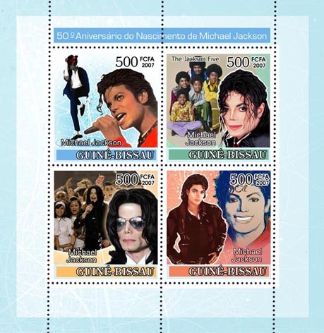 Pop star Michael Jackson 4v x 500 - Issue of Guinée-Bissau postage stamps