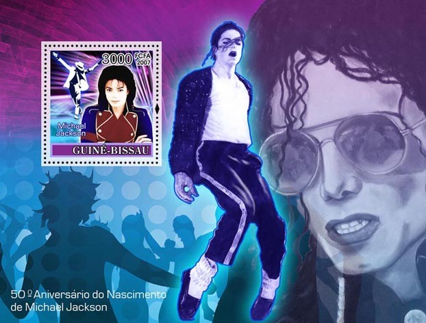 Pop star Michael Jackson S/s 3000 - Issue of Guinée-Bissau postage stamps