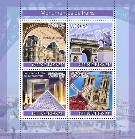 Monuments of Paris 4v x 500 - Issue of Guinée-Bissau postage stamps