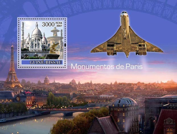 Monuments of Paris / Concorde S/s 3000 - Issue of Guinée-Bissau postage stamps