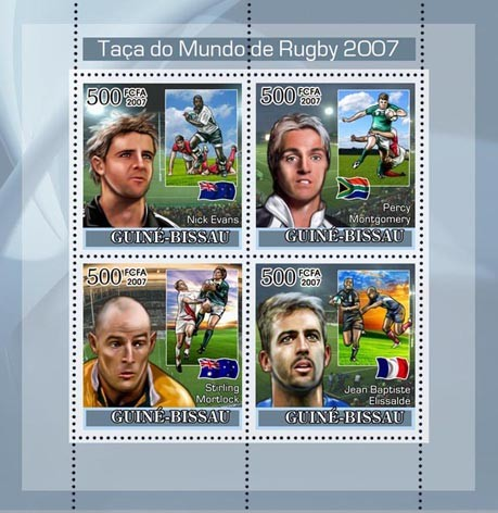 Rugby World Cup 2007 4v x 500 - Issue of Guinée-Bissau postage stamps