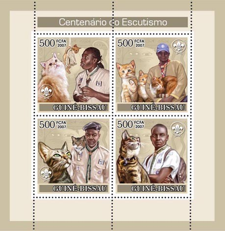 Centenary of Scouting/ Scouts/  Dogs/ Cats 3x500+350 - Issue of Guinée-Bissau postage stamps