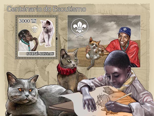 Centenary of Scouting / Scouts / Dogs / Cats S/s 3000 - Issue of Guinée-Bissau postage stamps