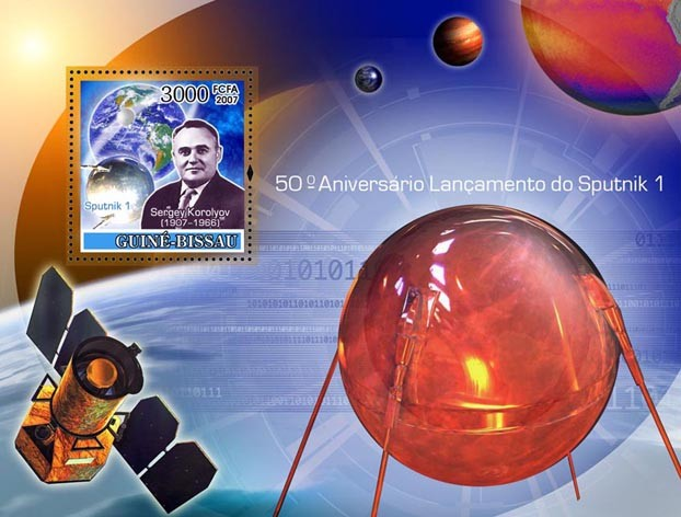 Space / Sputnik I  S/s 3000 - Issue of Guinée-Bissau postage stamps