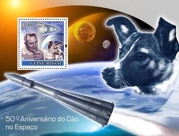 Dog in Space / Sputnik II S/s 3000 - Issue of Guinée-Bissau postage stamps