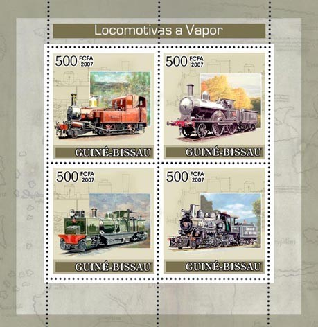 Steam Trains 4v x 500 - Issue of Guinée-Bissau postage stamps