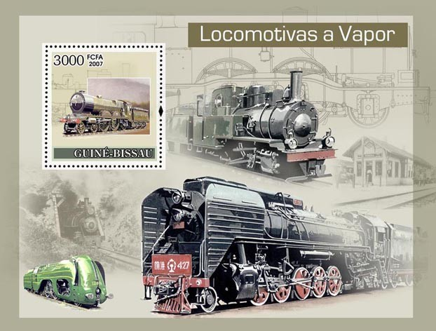 Steam Trains S/s 3000 - Issue of Guinée-Bissau postage stamps