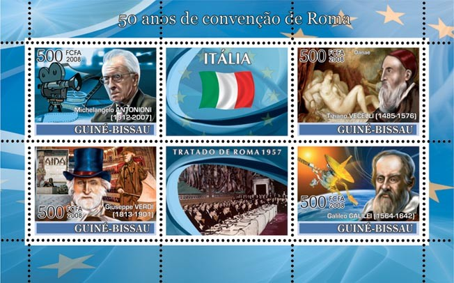 Idea of Europe - 50 years Treaty of Rome - Italy - Antonioni (Cinema), Music (Verdi), Danae of Tiziano, Galilei (Espace) - Issue of Guinée-Bissau postage stamps