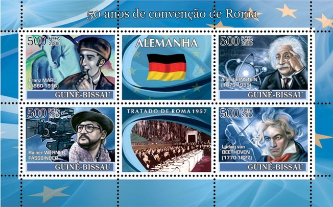 Idea of Europe - 50 years Treaty of Rome - Germany - Franz Marc (Horse in Painting), Fassbinder (Cinema), Einstein (Space), Beethoven - Issue of Guinée-Bissau postage stamps