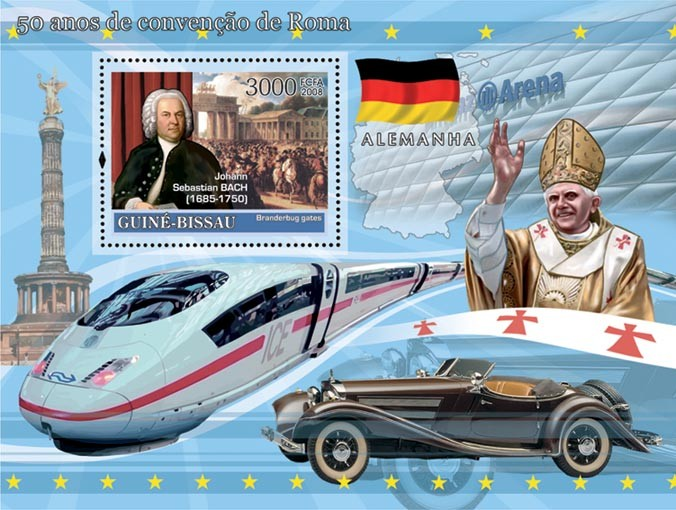 Idea of Europe - 50 years Treaty of Rome - Germany - Bach, Brandenburg Gates, Train ICE, Mercedes-Benz, Pope Benedict XVI - Issue of Guinée-Bissau postage stamps