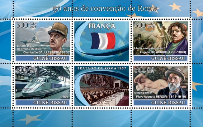 Idea of Europe - 50 years Treaty of Rome - France - Charles De Gaulle (military ship), train TGV, Delacroix (Liberty leaving the people), Renoir (Sleeping Bather) - Issue of Guinée-Bissau postage stamps