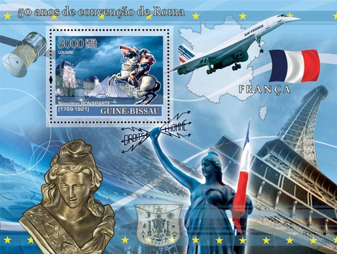 Idea of Europe - 50 years Treaty of Rome - France - Monuments of Paris, Marianne, Napoleon Bonaparte, Space, Concorde - Issue of Guinée-Bissau postage stamps