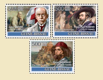 Idea of Europe - 50 years Treaty of Rome - Belgium - Bordet (Red Cross), Tintin, Rubens, P. Brueghel (Babel) - Issue of Guinée-Bissau postage stamps