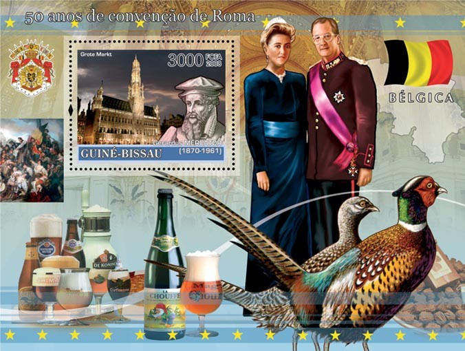 Idea of Europe - 50 years Treaty of Rome - Belgium - Royal family, Grand Place of Brussels, Culinary, Pheasants - Issue of Guinée-Bissau postage stamps