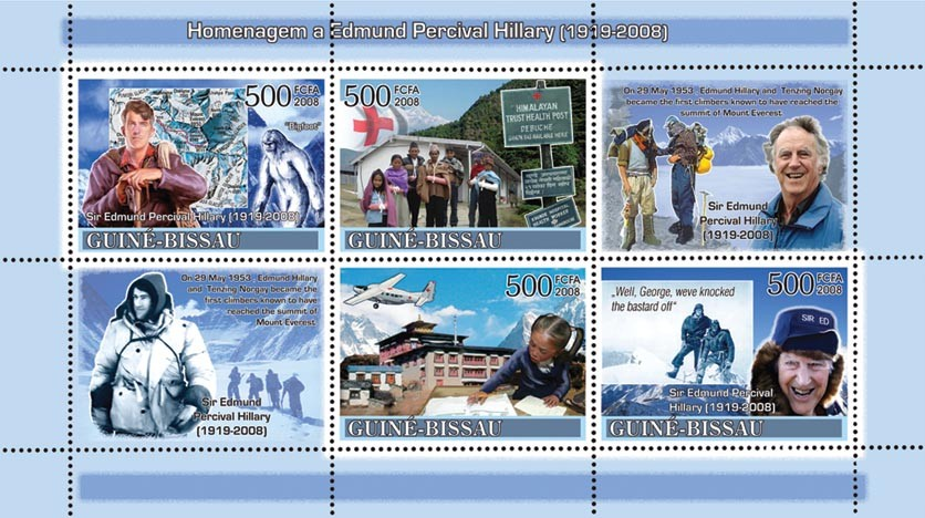 Tribute to Edmund Percival Hillary (1919-2008) - Mountains, Small Aircraft, Red Cross - Issue of Guinée-Bissau postage stamps