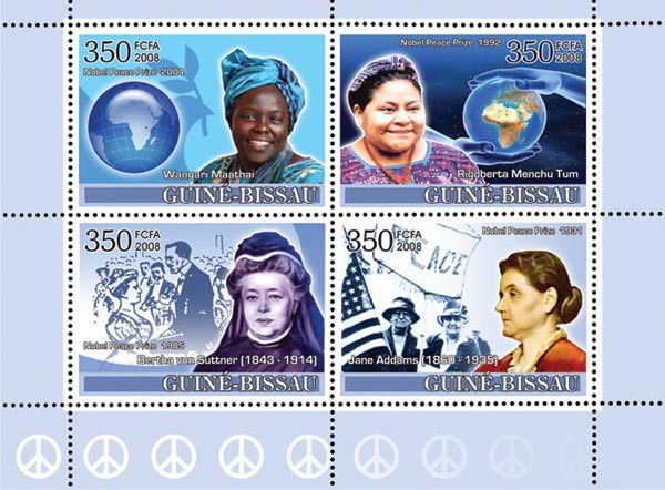 Ladies Heroes of Peace I - Nobel Prize Winners - Issue of Guinée-Bissau postage stamps