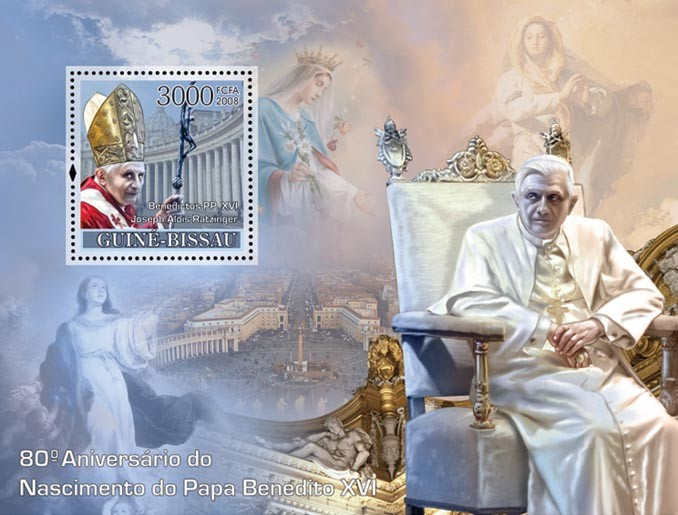 Pope Benedict 80th Anniversary Celebration - Issue of Guinée-Bissau postage stamps
