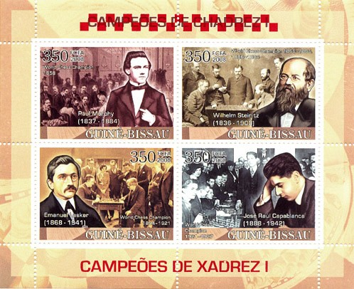 Chess Champions I (Murphy, Steinitz, Lasker, Capablanca) - Issue of Guinée-Bissau postage stamps