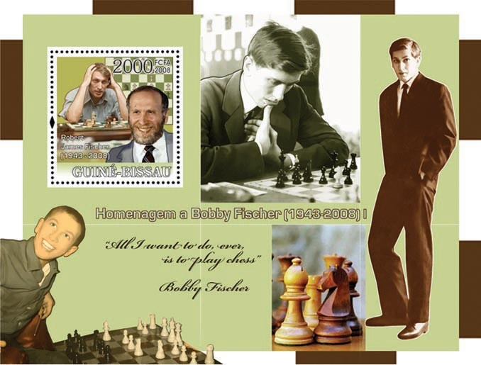 Chess Champions - Tribute to Fisher I (All I want to do is to play chess) - Issue of Guinée-Bissau postage stamps