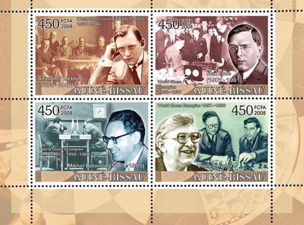 Chess Champions II (Alekhine, Euwe, Botvinnik, Smyslov) - Issue of Guinée-Bissau postage stamps