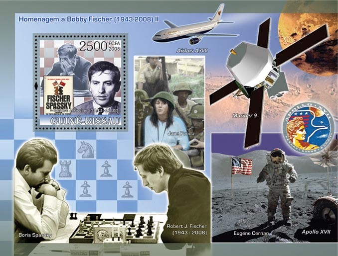 Chess Champions - Tribute to Fisher II (Fisher - Spassky, USA space) - Issue of Guinée-Bissau postage stamps
