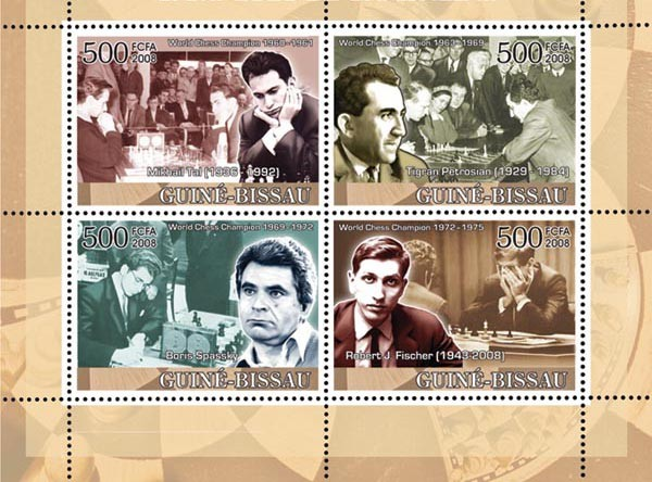 Chess Champions III (Tal, Petrossian, Spassky, Fisher) - Issue of Guinée-Bissau postage stamps