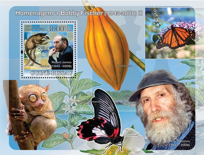 Chess Champions - Tribute to Fisher  III (Phillipines: butterflies, fruit) - Issue of Guinée-Bissau postage stamps