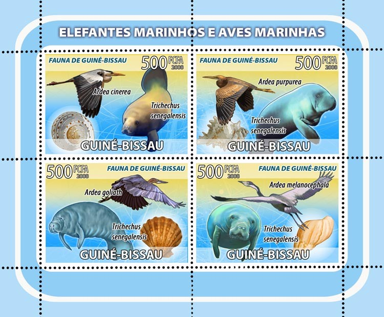 Sea elephants, sea birds, shells 4v - Issue of Guinée-Bissau postage stamps
