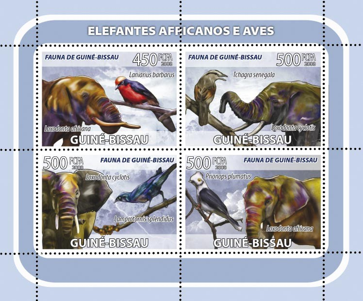 African Elephants, birds 4v - Issue of Guinée-Bissau postage stamps