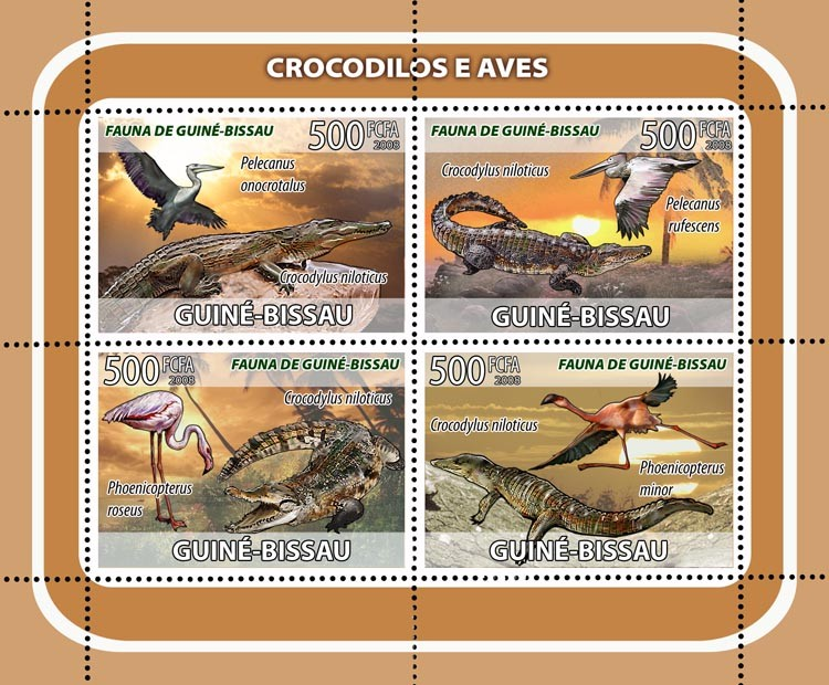 Crocodiles, birds 4v - Issue of Guinée-Bissau postage stamps