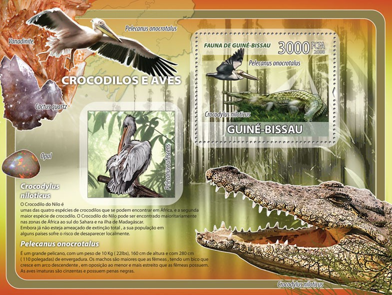 Crocodiles, birds, minerals s/s - Issue of Guinée-Bissau postage stamps