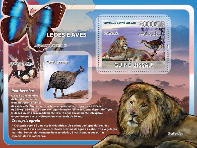 Lions, birds, butterflies s/s - Issue of Guinée-Bissau postage stamps