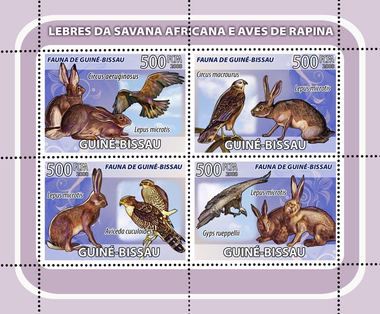 African Savannah Rabbits, birds of prey 4v - Issue of Guinée-Bissau postage stamps