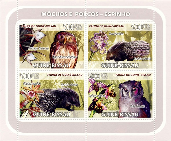 Owls, porcupines, orchids 4v - Issue of Guinée-Bissau postage stamps