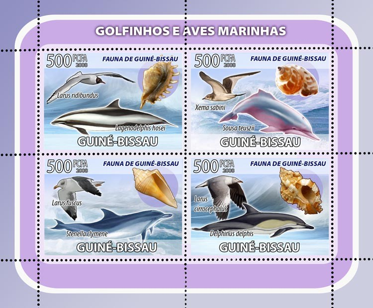 Dolphins, sea birds, shells 4v - Issue of Guinée-Bissau postage stamps