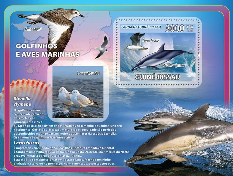 Dolphins, sea birds, shells s/s - Issue of Guinée-Bissau postage stamps