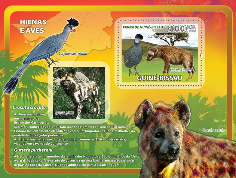 Hyenas, birds s/s - Issue of Guinée-Bissau postage stamps