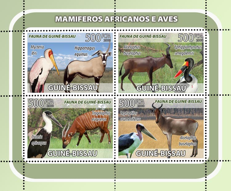 Antelopes, birds 4v - Issue of Guinée-Bissau postage stamps