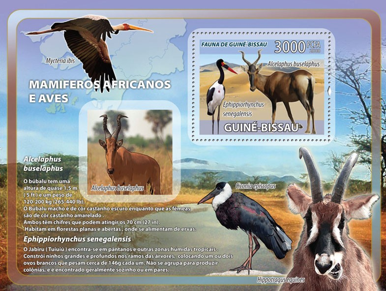 Antelopes, birds s/s - Issue of Guinée-Bissau postage stamps